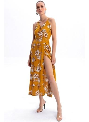 Emjey Askılı Kruvaze Elbise Hardal